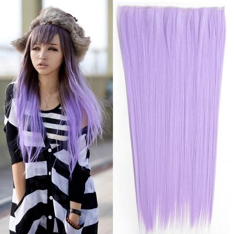 Clip in vlasy - 60 cm dlouhý pás vlasů - odstín Light Purple