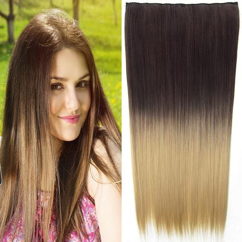Clip in vlasy - rovný pás - ombre - odstín 6A T 24