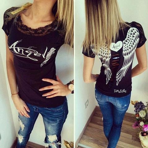 Dámské tričko Angel - černé