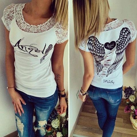 Dámské tričko Angel - bílé