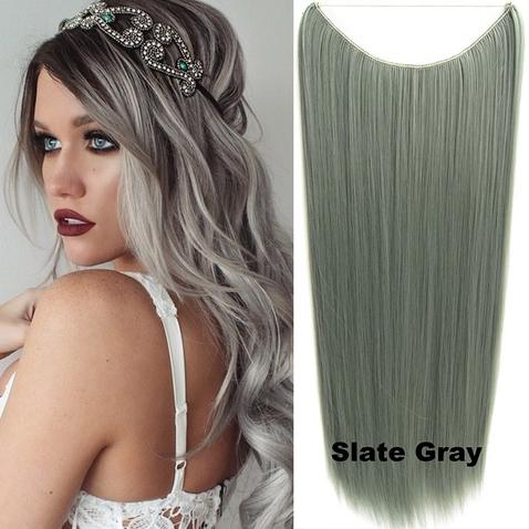 Flip in vlasy - 60 cm dlouhý pás vlasů - odstín Slate Gray