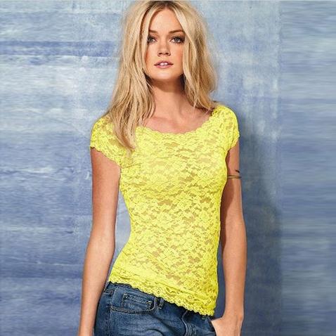 Dámský krajkový top - tričko - žluté