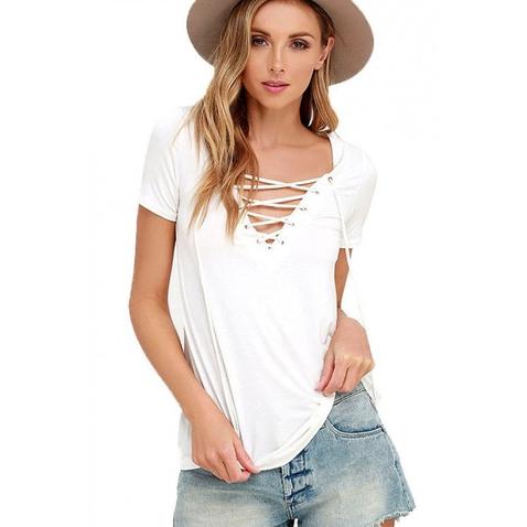 Dámské tričko s výstřihem Criss Cross - bílé
