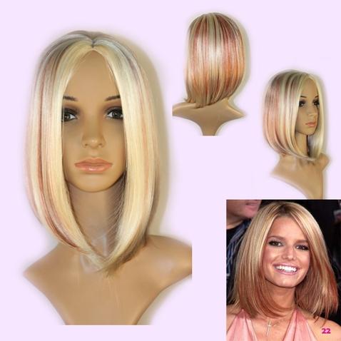 Paruka Veronique mix blond - červená - GS2212