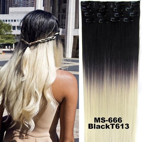 Clip in sada OMBRE rovná - odstín Black T 613