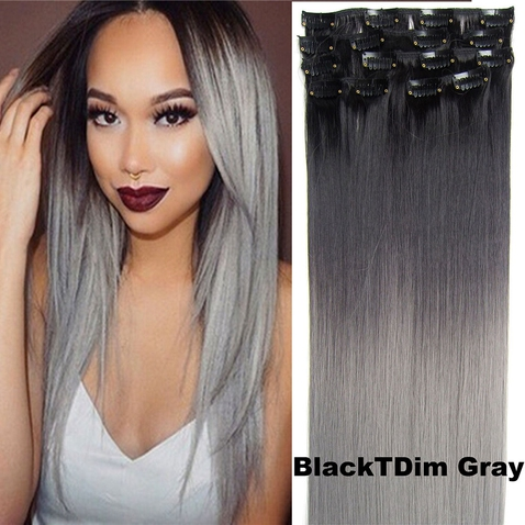 Clip in sada OMBRE rovná - odstín Black T Dim Gray
