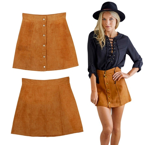 Dámská Vintage sukně - imitace broušené kůže