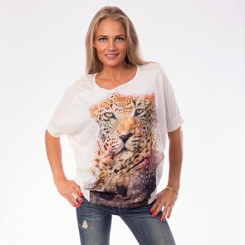 Krémová ležérní halenka s tygrem
