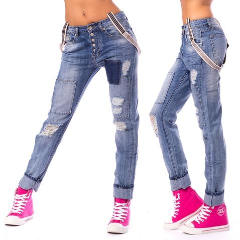 Dámské trhané jeans s kšandami