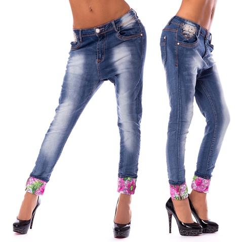 Dámské harémové jeans a květinovou manžetou