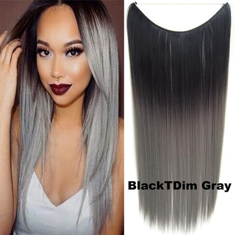 Flip in vlasy - 55 cm dlouhý pás vlasů - odstín Black T GrayDim