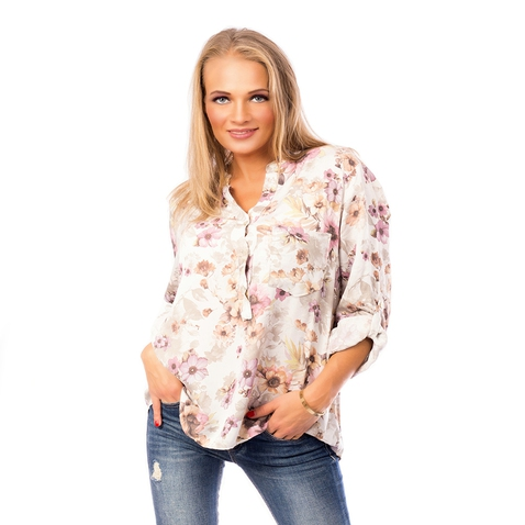 Dámská košilová halenka s květy