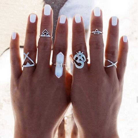 Vintage prstýnky - sada 6 ks - stříbrná