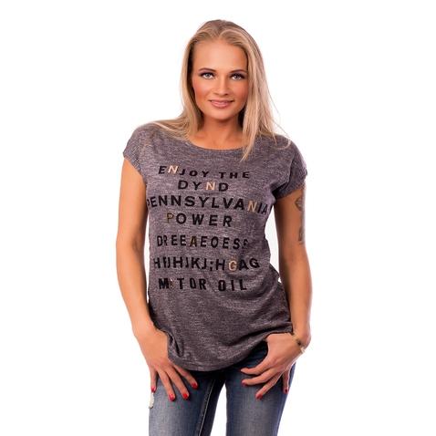 Dámské tričko s módní aplikací METALIC LETTER - tmavě šedé