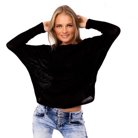 Dámský černý svetřík s mašličkou na zádech