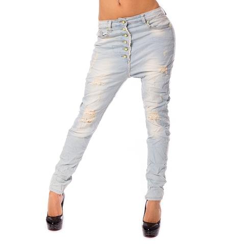 Dámské světlé jeans baggy s trháním