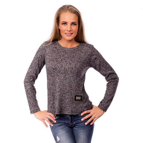 Dámský šedý úpletový svetřík - Fashion