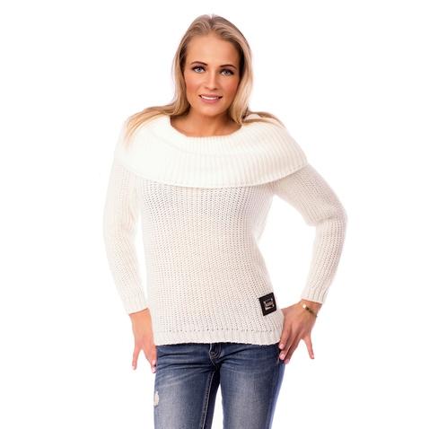 Stylový dámský svetr s širokým límcem - krémově bílý