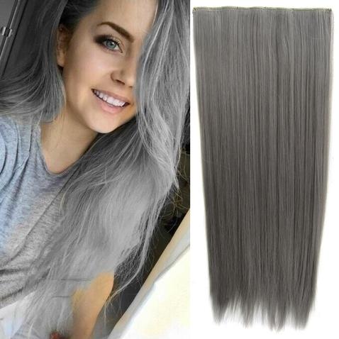 Clip in vlasy - 60 cm dlouhý pás vlasů - odstín Dim Grey