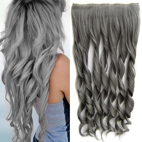 Clip in pás vlasů - lokny 55 cm - odstín Dim Grey