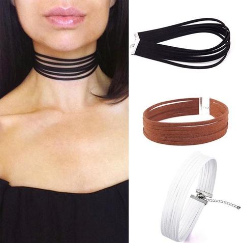 Kožený Gothic Velvet Retro obojek - náhrdelník