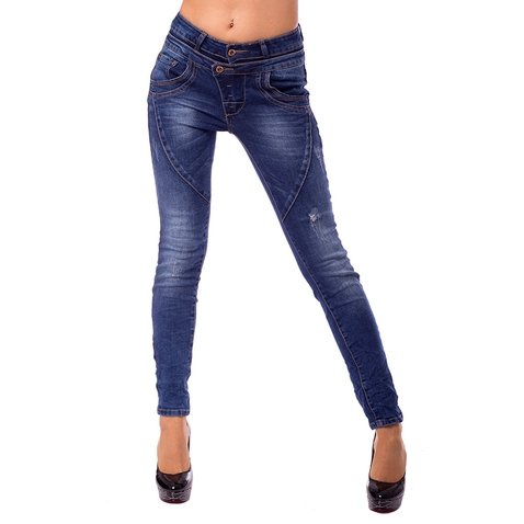 Dámské slim džíny s dvojitým pasem