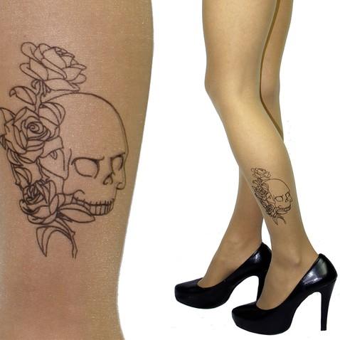 Punčochy s tetováním na lýtku - motiv lebky