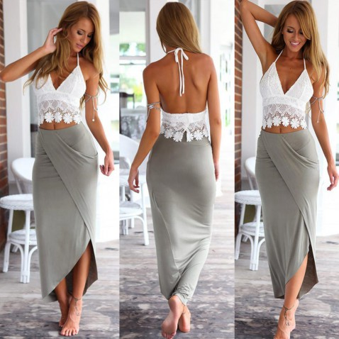 Dámská překládaná sukně - šedá