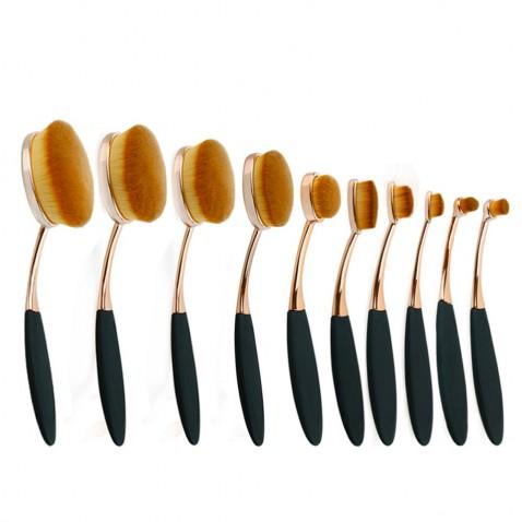 Sada oválných kosmetických štětců Luxury Cooper - 10 kusů