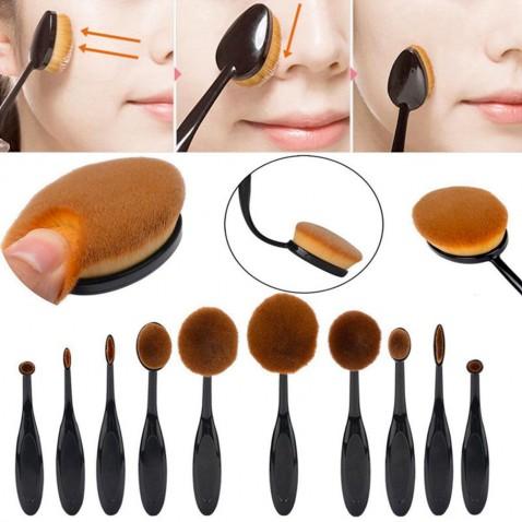 Sada oválných kosmetických štětců Black - 10 kusů