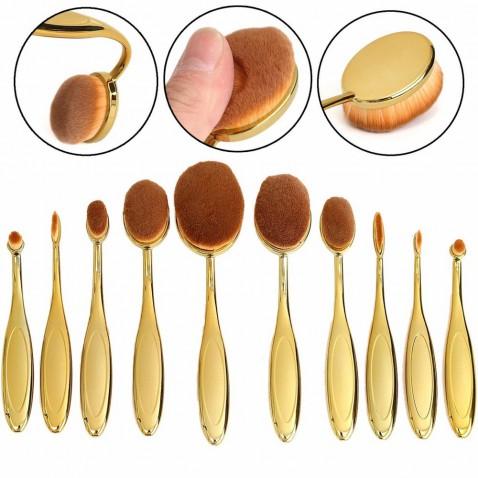 Sada oválných kosmetických štětců Gold - 10 kusů