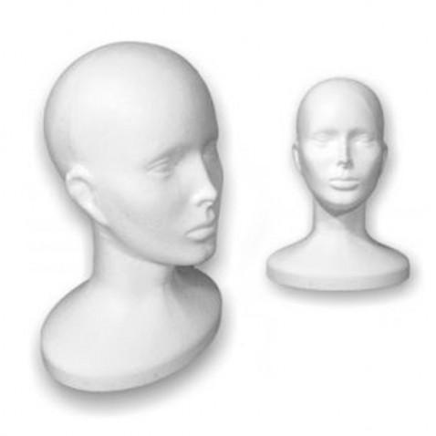 Polystyrenová hlava 32 cm - pohodlné uložení paruk a příčesků