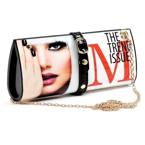 Kabelka - psaníčko - design módního časopisu - bílá Elle